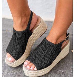 Shoes - Espadrille Peep Toe Wedge Sandals